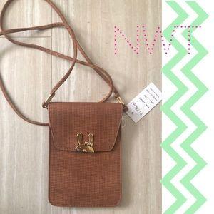 Handbags - NWT Bunny Closure Brown Crossbody Bag